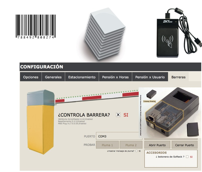Modulo de Pensiones con tarjetas TARJETAS MIFARE RFID y Control de barreras