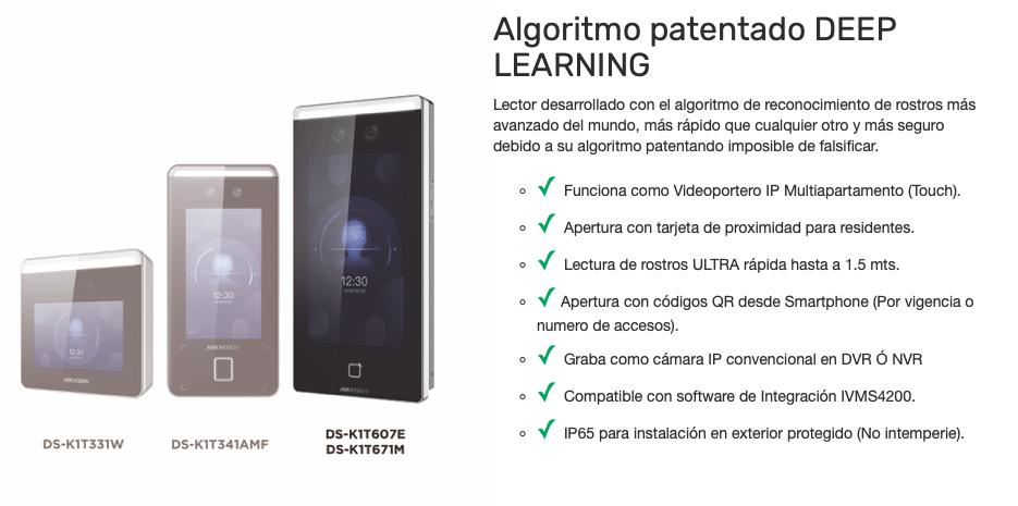 2 EN 1 / Biométrico de Reconocimiento Facial ULTRA Rápido Hasta a 1.5 Mts con Función de Videoportero Touch / Lectura de Códigos QR / Algoritmo Deep Learning / Cámara 2 MP Compatible con NVRs y DVRs